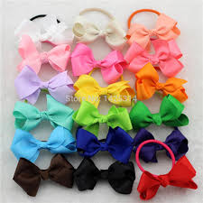 toddler hair bows 2016 grosgrain ribbon hair bows with mix colorful elastic hair