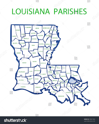 Louisiana Parishes Map by Map Louisiana Showing Names Borders Parishes Stock Illustration