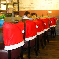 santa chair covers aliexpress buy 1pcs santa claus cap chair cover christmas