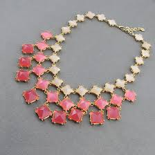 beautiful beads necklace images Three pink box necklace bridesmaid necklace beautiful beaded JPG