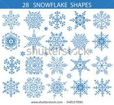 New Years Holiday Decorations by Snowflake Big Set Icon Silhouette Shapeschristmas Stock Vector
