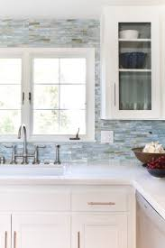 kitchen furniture uk aqua blue glass backsplash tile design with wooden kitchen cabinet