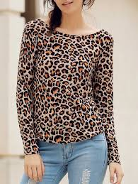 stylish round neck long sleeve leopard print backless t shirt for