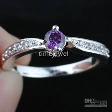 Amethyst Wedding Rings by Women Silver Ring Sz 7 Wed J8064 Small Round Purple Amethyst