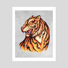 traditional japanese tiger illustration an print by bernardo