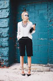 white shirt white necklace images Picture of black knee shorts a white shirt black ankle strap jpg