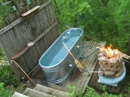 Outdoor Bathtubs Ideas Outdoor Tub With Fire System To Warm The Water Log Cabin Homes