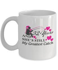 32nd wedding anniversary 32nd wedding anniversary mugs gift fishing felishirt