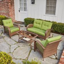 Royal Garden Outdoor Furniture by Willow Spring 4 Piece Patio Wicker Cushion Conversation Set