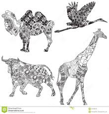 set of animals in the ethnic ornament royalty free stock images