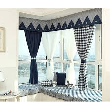 Navy Window Curtains Navy Blue Plaid Print Linen Cotton Blend Bay Window Curtains