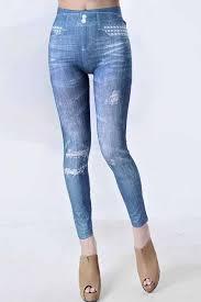 Light Blue Tights Light Blue Distressed Faded Jean Print Leggings Womens Cheap