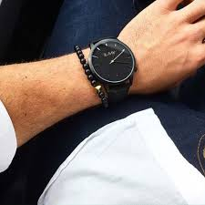 Black Minimalist by Blackout Black Leather Minimal Watch Annielka Watches Online