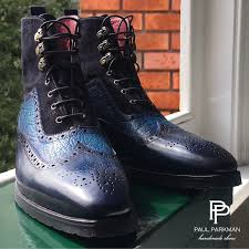 two tone blue wingtip boots men u0027s luxury footwear by paul parkman
