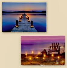 2017 led canvas light up colorful seascape pier view with