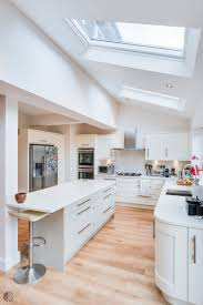 open plan kitchen amersham grey units solid oak worktops velux