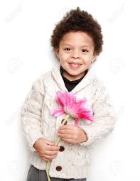 cute child smiling with big pink flower isolated on white