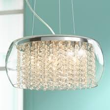 Glass Chandeliers For Dining Room Possini Euro Crystal Rainfall Glass Drum 17