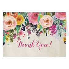 watercolor flowers thank you note cards zazzle