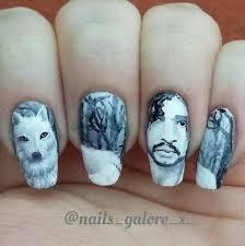 Nail Art Designs Games Game Of Thrones U0027 Jon Snow Nail Art Designs Snow Nails Nail Art