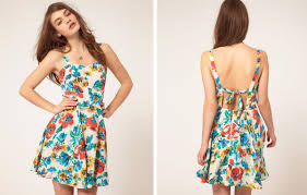 womens summer dresses in elegant floral cotton fabric