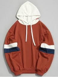 pockets color block hoodie orange hoodies u0026 sweatshirts l zaful