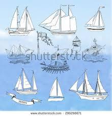 set sailing ship sketch sailer side stock vector 506226721