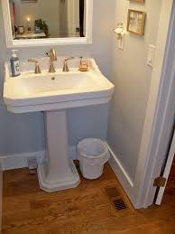 Bathroom Pedestal Sink Ideas Double Kohler Memoir 24 Pedestal Sink In Carrara Marble Mosaic