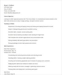Sample Resume For Teller by Sample Teller Resume 7 Examples In Word Pdf