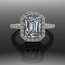 faux engagement rings moissanite emerald cut halo engagement ring my faux