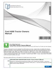 ford 4600 tractor owners manual tractor ford motor company