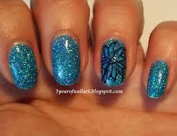 365 days of nail art blue holo flower nail art