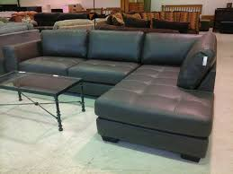 tufted grey leather short sectional sofa with half armrest
