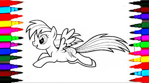 how to draw and color rainbow dash l mlp coloring pages videos for