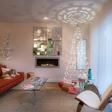 white hanging christmas tree in contemporary art 50 u0027s style home