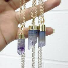 amethyst crystal necklace images Necklace bullet necklace long necklace bohemian jewelry raw jpg