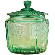 green glass biscuit jar glass biscuit jar miles kimball green depression style glass biscuit jar