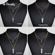 turquoise crystal pendant necklace images Artilady natural opal stone moon choker necklace fashion gold jpg