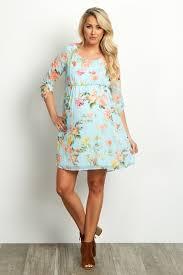 light blue dress light blue floral chiffon 3 4 sleeve maternity dress
