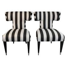 Black And White Striped Accent Chair Image Of Curved T Back Accent Chairs A Pair For Upstairs Guest