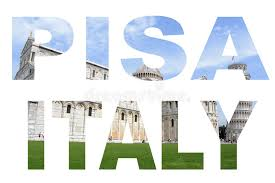 photo collage letters pisa italy with lean tower background stock