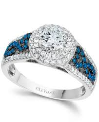 levian engagement rings lyst le vian blue and white diamond engagement ring in 14k white