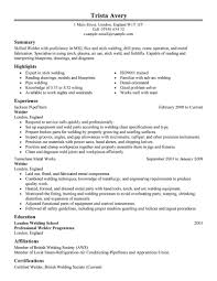 Resume Samples Objective Summary by Welder Resume Template Zuffli