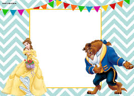 free printable disney beauty and the beast invitation template