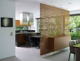 Glass Partition Between Living Room And Kitchen Clever Wooden Slatted Partition Wall Between Dining Area And