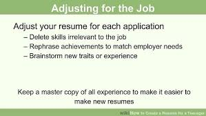 Types Of Skills To Put On A Resume How To Create A Resume For A Teenager 13 Steps With Pictures