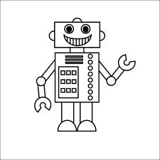 simple robot drawing robot coloring pages getcoloringpages