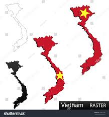 Black And Red Flag Country Maps Vietnam 3 Dimensional Flag Clipped Stock Illustration