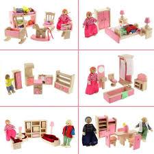 Dolls House Kitchen Furniture Wooden Dolls House Furniture Pretend Play Miniature Kitchen Bed