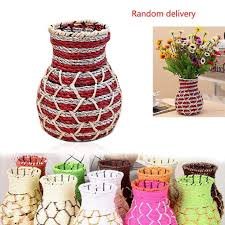 Big Floor Vases Home Decor by Wicker And Wire Home Rustic Flower Pot Rattan Flower Vase Vintage